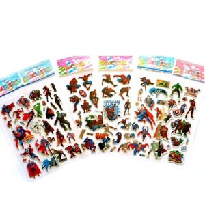 3D Spiderman - Avengers - Justice League - Puffy Bubble Stickers Pk Of 2 Sheets