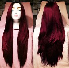 USA: Long Wine Red HEAT OK Yaki LACE FRONT & PART  Dark Roots Wig