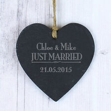 Just Married Personalised Slate Hanging Sign Wedding Day Couples Gift