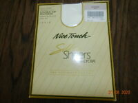 Hanes Stardust White Mink 966 Textured Pantyhose Light Control Top SZ D NOS