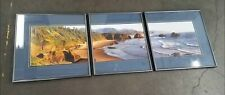 Ron Keebler Signed Triptych Photo of Cannon Beach, Oregon Framed