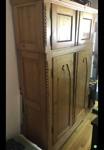 Antique Blonde Pine Armoire