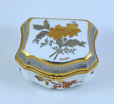 NEW FRENCH LIMOGES TRINKET BOX GORGEOUS PLATINUM & GOLD ENCRUSTED CHEST