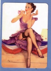 Beautiful Pin Up Lady in a Mauve Dress - Modern Wide Swap Playing Card
