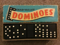 Vintage Chad Valley black & white Double Six Dominoes original box