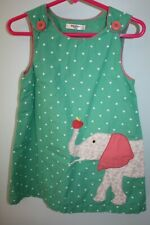 EUC Baby Boden 2-3 years Green Polka Dot Appliqued Elephant Lined Jumper Dress