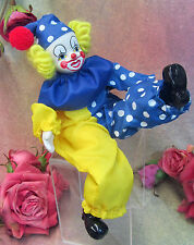 """Vintage bisque head & limbs Clown Doll poseable Yarn hair Bright Painted face 9"""""""