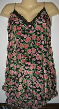 LILY OF FRANCE - BLACK, PINK & GREEN FLORAL SHORT NIGHT GOWN - S