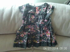 Girls 3 Years - Grey with Pink Floral Pattern Short Sleeve Tunic - Next