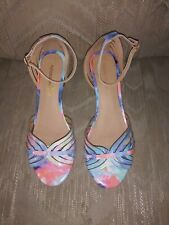 Montego Bay Club 7 1/2 Wedge High Heels Sandals Pastels Blue Pink Made In China