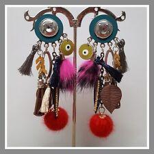 Boucles d'oreilles Lol Bijoux lolilota multicolore rose pompon perle feuille or