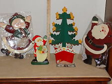1992 DAKIN INC WOOD CHRISTMAS TREE,AND CLOTH SANTA AND MISS CLAUSE