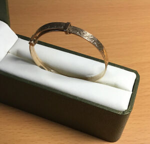 9ct Rolled Gold Vintage Expanding Engraved Baby Bangle
