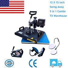 5 In 1 Heat Press Machine Digital Transfer Sublimation Plate T Shirt Mug 12x15