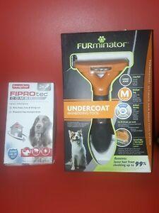 FURminator Deshedding Tool for medium short Haired Dog+FIPROtec 3 pips £19.99