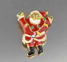 VINTAGE 70'S RED BLACK ENAMEL CHRISTMAS SANTA CLAUS PIN BROOCH