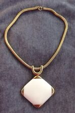 Vintage Signed 1972 Christian Dior Germany Pendant Necklace Gold Tone