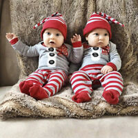 Newborn Infant Baby Boys Girls Romper Jumpsuit Bodysuit Hat Outfits XMAS Clothes