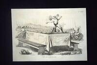 Incisione d'allegoria e satira Battaglia di Novara Radetzky Don Pirlone 1851
