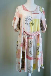 VINTAGE 90's PRINT Colorblock ABSTRACTS FLORAL 80s BABYDOLL Gingham DRESS M L