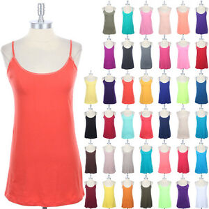 [1XL-3XL PLUS SIZE] BASIC Plain Solid Spaghetti Cotton Camisole Tunic Tank Top