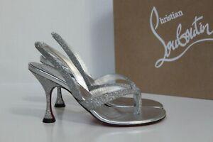 sz 5 / 35 Christian Louboutin Silver Glitter Taralita 85 Slingback Sandal Shoes