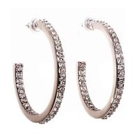 Swarovski Elements Crystal Open Hoop Pierced Earrings Rhodium Authentic 7963y