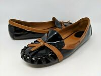 KATE SPADE WOMENS BLACK PATENT LEATHER LOAFERS FLATS MOCCASIN SIZE 7.5 M
