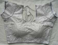 Indian Sequin Silver Saree Blouse / Bollywood Top (#BL38)