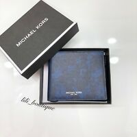 NWT Michael Kors Mens Kent 3 in 1 Billfold Wallet Passcase Leather Indigo Multi