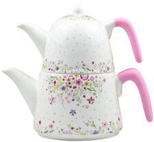 Emaille Porzellan Caydanlik Teekanne Teekocher Silikon Griff 2,3 Liter Kocher