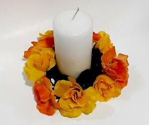 """Yellow Orange Rose 8"""" Candle Ring 4"""" Opening Pillar Home (Flower Decor Only) US"""