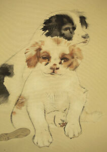 JAPANESE PAINTING HANGING SCROLL JAPAN Puppy Dog PRINT VINTAGE PICTURE d180