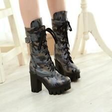 New Womens Gothic Camouflage 9.5cm Block High Heel Lace Up Mid Calf Combat Boots