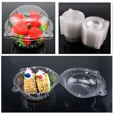 100pcs Cupcake Boxes Single Clear Plastic Case Muffin Doughnut Pods Dome Holder