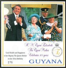 T370 GUYANA Queen Mother 101st Birthday, photo with Brian Mulroney, S/S MNH