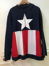 Marvel Comics Captain America Masked Hoodie Adult Zip Up Sweatshirt Jacket XL