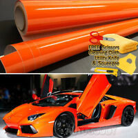"48"" x 60"" Super Gloss Orange Vinyl Film Wrap Sticker Air Bubble Free 4ft x 5ft"