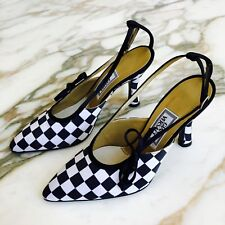 GIANNI VERSACE black & white satin check pattern slingback high heel shoes 35