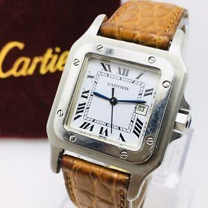 Vintage Cartier Santos Galbee Automatic Date 30mm Steel Watch No Paper/box