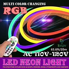 NEON LED RGB Flexible Rope Light Color Changing 60 LED+Remote AC 110-120V-65.6Ft