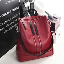 Rot&Blau&Schwarz Damentasche Leder Damenrucksack Damen Frauen Mädchen Rucksack