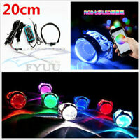 L.M 4Pcs 40mm-140mm Angel Eyes LED Headlights RGB Lamps With Remote Control