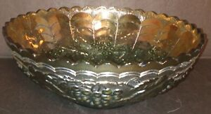 """Vintage Green Grapes Arches Imperial Carnival Glass Bowl 9 3/8"""" Dia 3 1/2"""" Tall"""