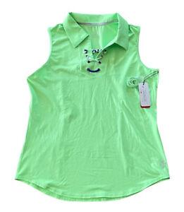 NWT Jofit Womens Large Lace Up Sleeveless Golf Polo Shirt Green