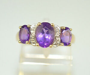 14K YELLOW GOLD 3 STONE OVAL AMETHYST RING W/ WHITE GOLD ACCENT 1.78 CT SIZE 6.5