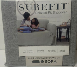 Surefit Relaxed Fit Sofa Slipcover Farmhouse Basketweave Grey Brand New