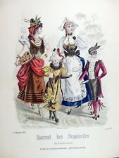Grande Gravure Mode JOURNAL DEMOISELLES Costume / Bal / Déguisement / Carnaval