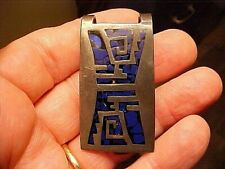 1950s Mexico Made Sterling Silver MONEY CLIP w/Black Onyx & Blue Lapis Inlay