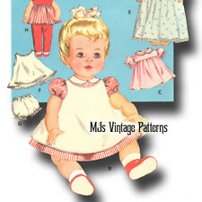 "Vintage Baby Doll Clothes Dress Pattern 15"" 16"" Tiny Tears, Betsy Wetsy, Dy Dee"